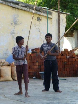 Local students learning Silabam
