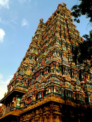 One of the four towers of the Meenakshi Temple