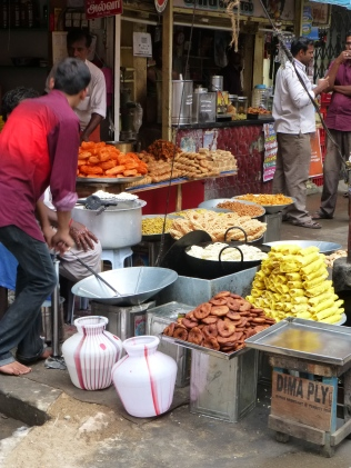 Snacks prepared on street side stoves