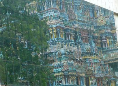 This is a reflection of the temple in a glass building opposite - only noticed as I sat to get out the sun for a bit.